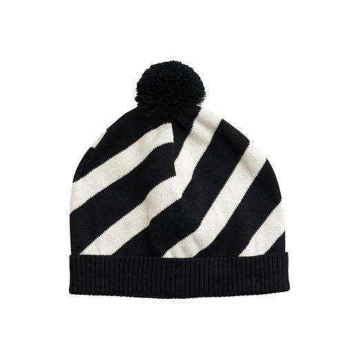 Papu - KNIT STRIPE POM POM BEANIE adult,  Black/sand