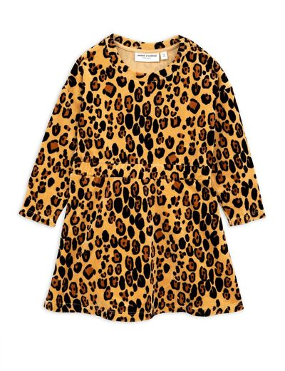 Mini Rodini - Leopard velour dress, beige