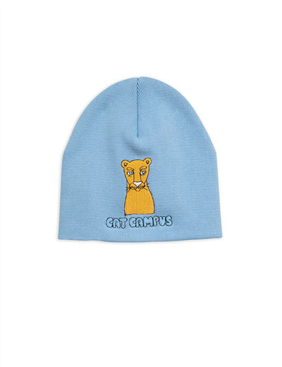Mini Rodini - Cat campus patch hat, light blue