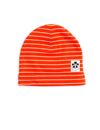 Mini Rodini - Stripe rib beanie, Red