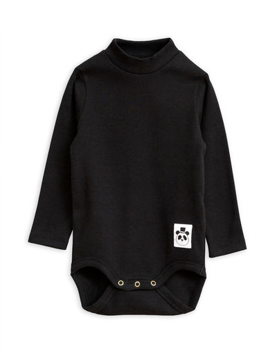 Mini Rodini - Solid rib turtleneck body, Black