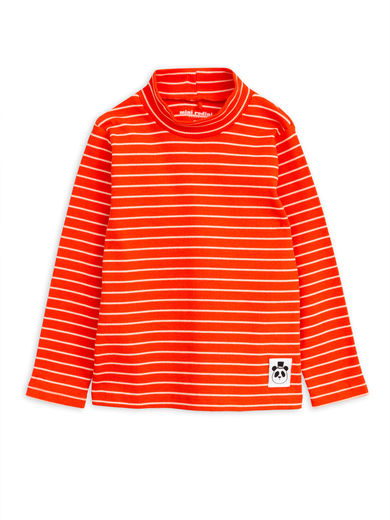 Mini Rodini -  Stripe rib turtleneck ls tee, Red