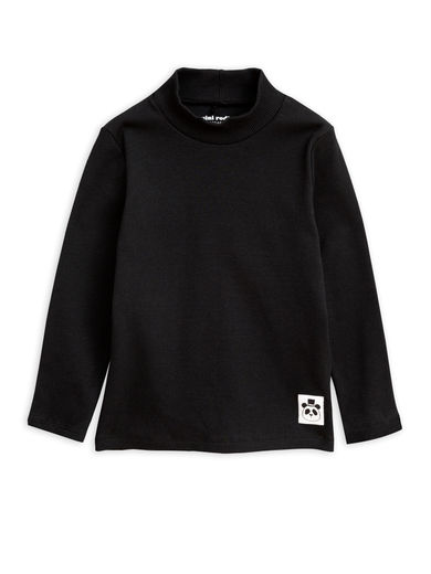 Mini Rodini -  Solid rib turtleneck ls tee, Black