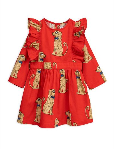 Mini Rodini - Spaniels woven ruffled dress, red