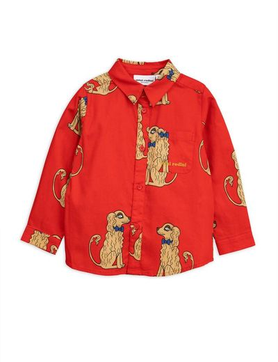 Mini Rodini - Spaniels woven shirt, red
