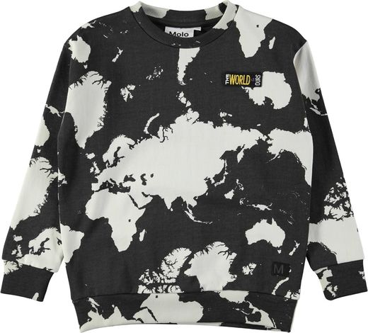 Molo Kids - Madsim Sweatshirt, World map dark