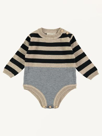 Mini Sibling - Knit Body Suit, Oatmeal
