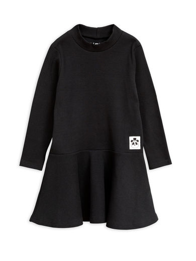 Mini Rodini -  Solid rib turtleneck dress, Black