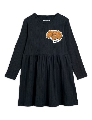 Mini Rodini -  Fluffy dog patch ls dress, Black