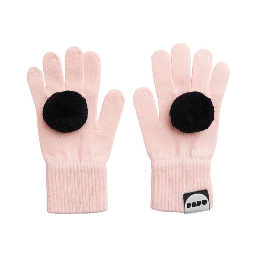 Papu - POM POM GLOVES, Heather pink, Black