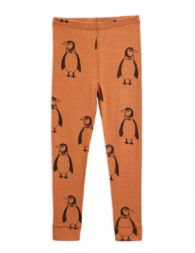 Mini Rodini - Penguin wool leggings, Brown
