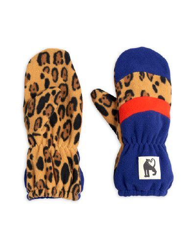 Mini Rodini - Fleece mittens stripe, Blue