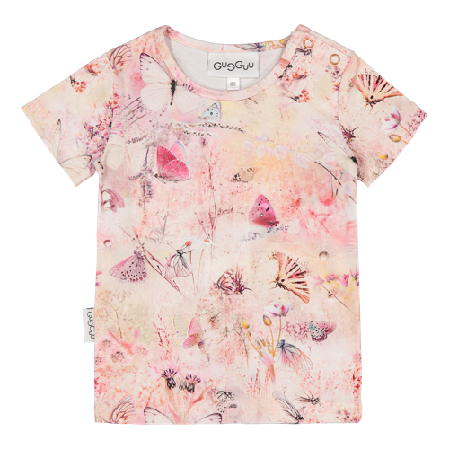 Gugguu - Print T-shirt, Coral butterfly
