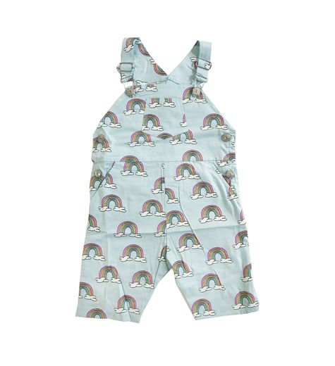 Hugo loves Tiki - Overalls, Blue Rainbows (3/4 length)