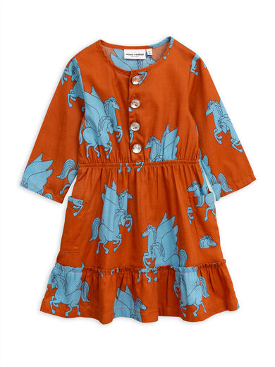 Mini Rodini -  Pegasus flounce dress, Brown