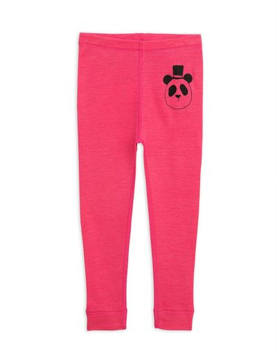 Mini Rodini - Panda sp wool leggings, cerise