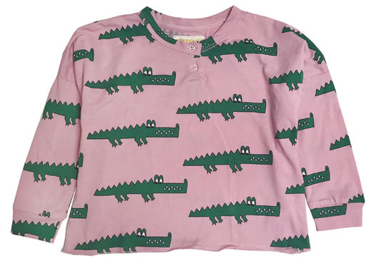 Hugo loves Tiki - Henley wide tee Pink Croc